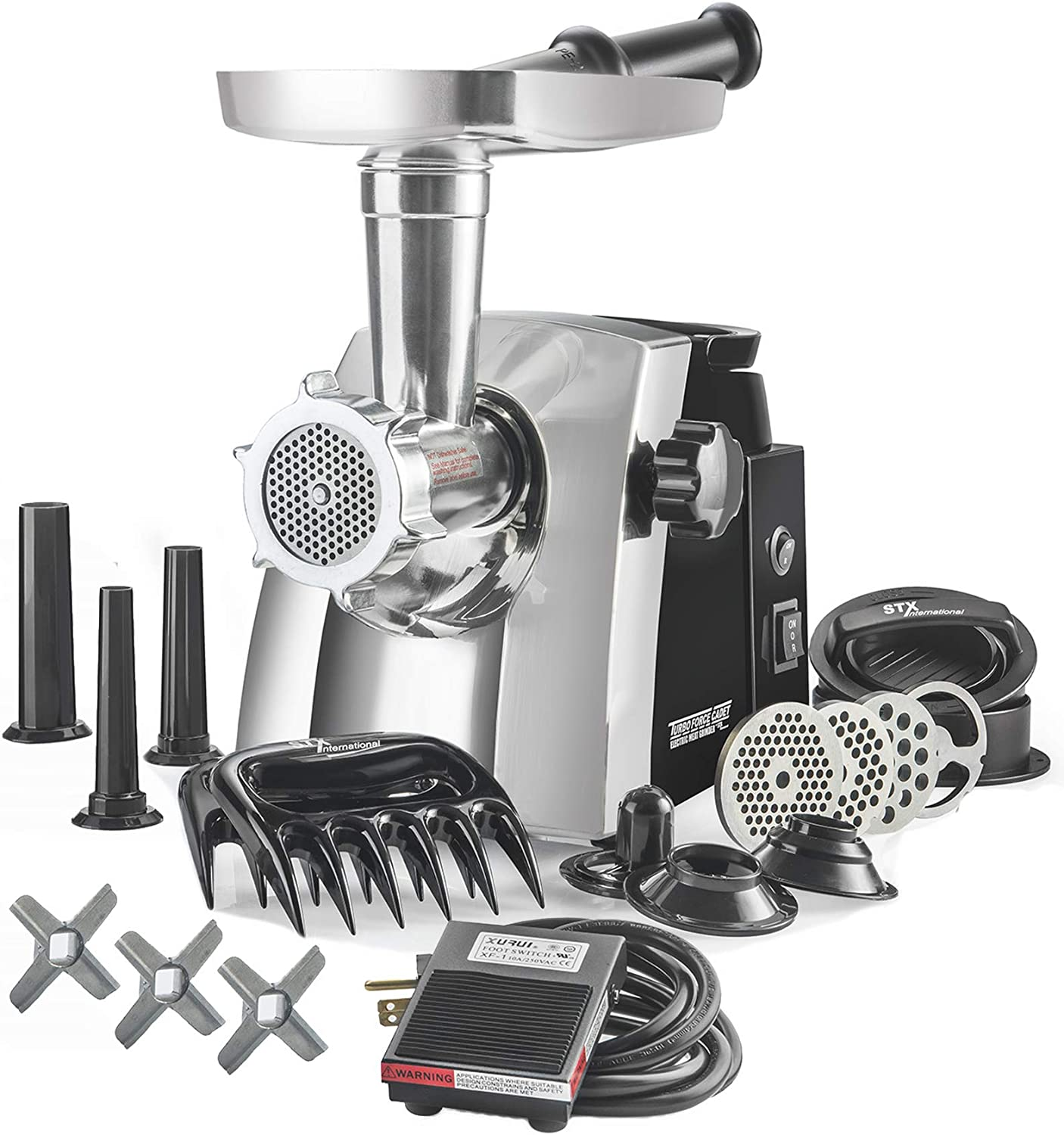 STX Turboforce Cadet – Platinum Edition w Foot Pedal – Electric Meat Grinder Sausage Stuffer – The Compact Titan of Grinders with AVI Feed Technology, High Volume Feed Tray, 120 Lbs Hour Plus More