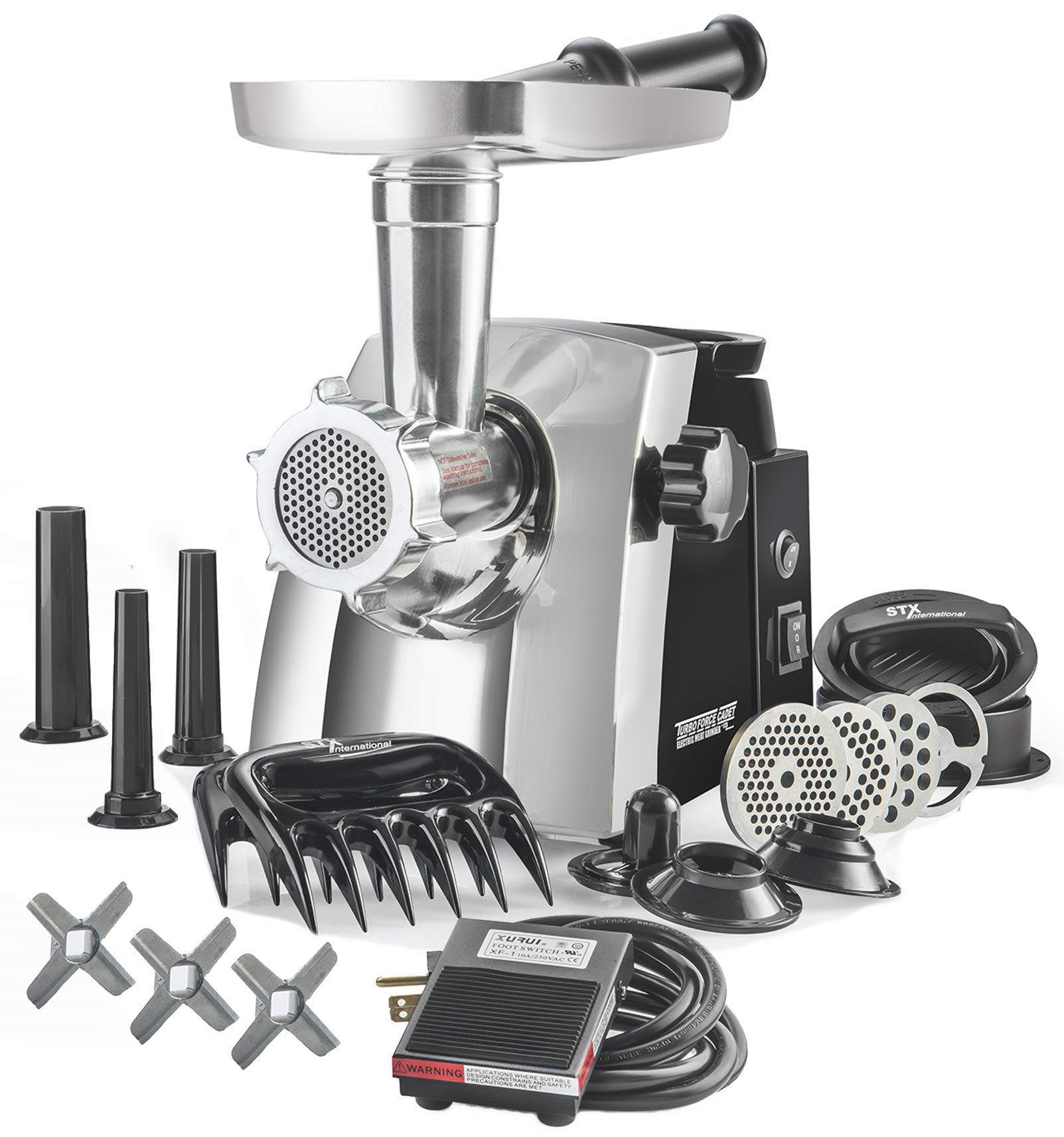 STX Turboforce Cadet - Platinum Edition w/Foot Pedal - Electric Meat Grinder & Sausage Stuffer - The Compact Titan of Grinders with AVI Feed Technology, High Volume Feed Tray, 120 Lbs/Hour Plus More! by STX INTERNATIONAL