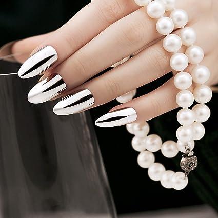 ArtPlus Uñas postizas 24pcs Silver Metallic Stilleto False Nails French Manicure Full Cover Medium Length with
