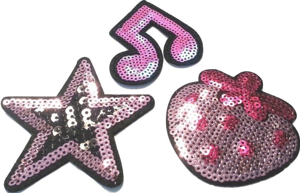 Sterne je 8-10 cm b2see Strass Glitzer Stern Sterne Aufn/äher Patches Applikationen mit Strass Pailletten Glitzer Set gro/ß zum aufb/ügeln 4 St/ück Glitzer