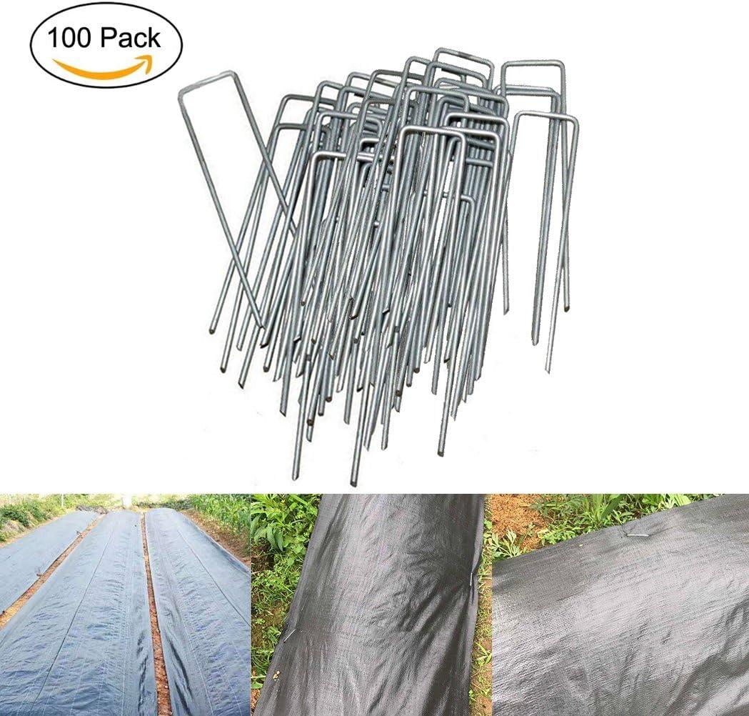 MJS® Lote de 100Pcs piquetas de fijación de jardín en forma de U 150 mm longitud – Ideal para fijación de tejidos bàche lienzo Huerta y malezas, alfombra de suelo y telas