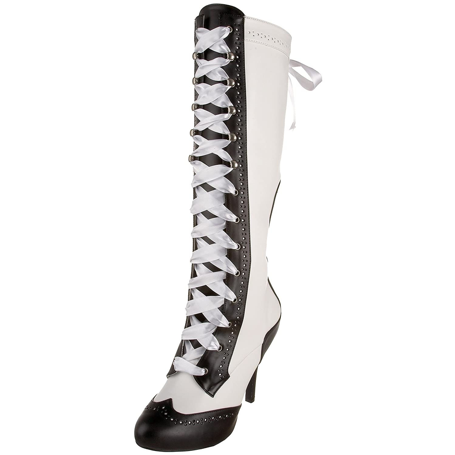 Pleaser Bordello by Women's Tempt-126 Lace-Up Boot B002LI9YEC 6 B(M) US|White/Black Synthetic