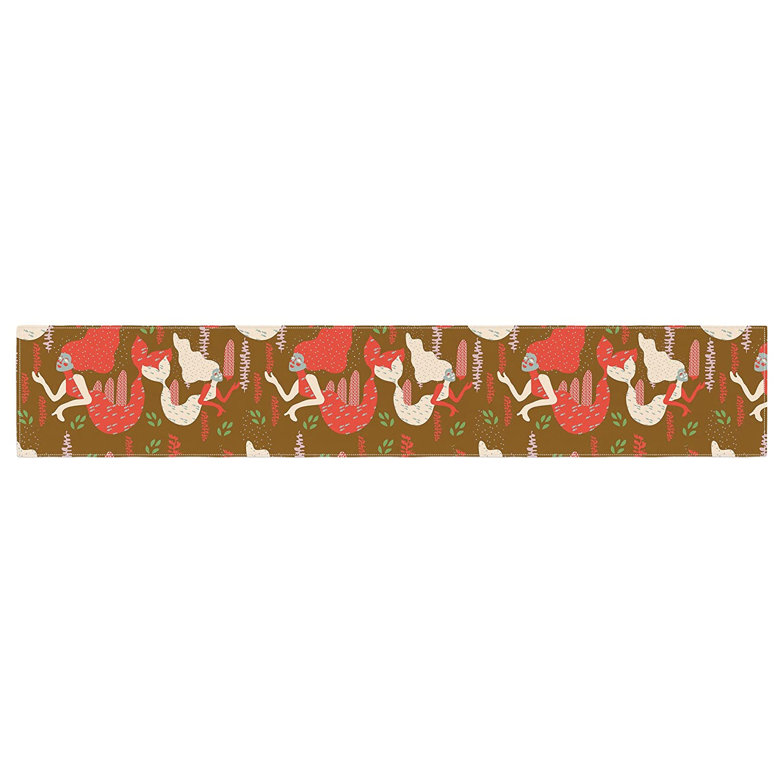 Kess InHouse Akwaflorell Mermaids Brown Red Table Runner