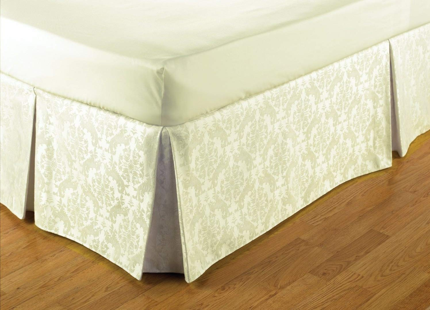 Mantovana easy fit stile damascato, color crema, per letti misura king Belledorm