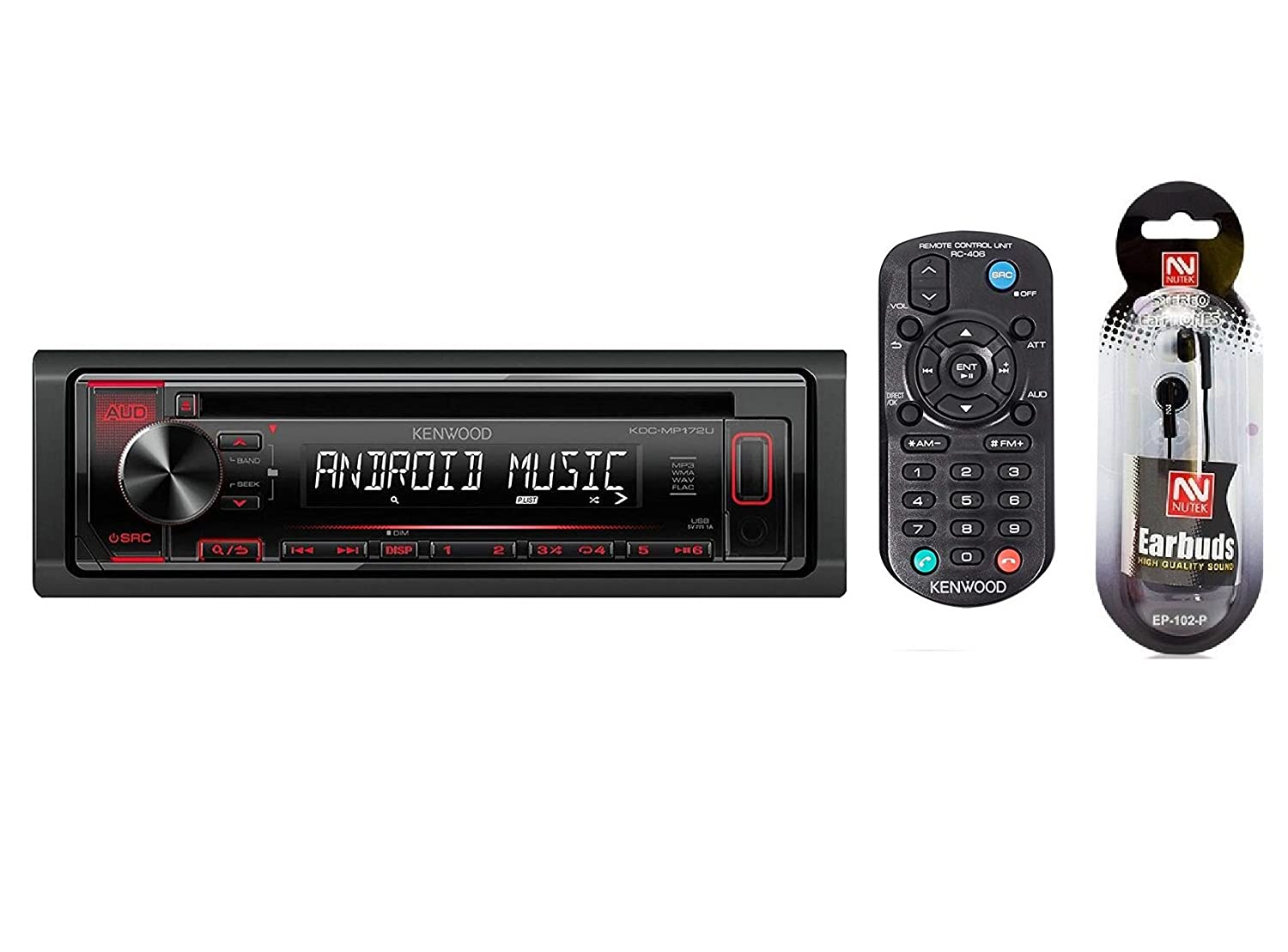 Kenwood Cd R Rw Mp3 Wma Receiver Am Fm Radio With Kdc 128 Wiring Harness Front Panel Usb And Aux Input Remote Control Includes A Free Pair Of Nutek Earbuds