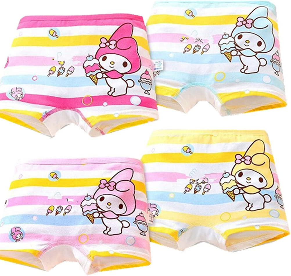 adiasen Little Girls 4-Packs Rabbit Cute Cartoon Design Underwear Hipster Knickers Briefs Boxer Comfortable Cotton