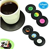 Hirun Set of 6 Drink Coasters with Gift Box - Vinyl Record Retro Mats,Good Grip,Tabletop Protection Prevents Furniture Damage,Large 4.2 inch Size