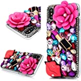 iPhone XR Bling Glitter Case, Awsaccy(TM) Unique 3D Handmade Crystal Sparkly Diamond Rhinestone Pink Pearl Floral…