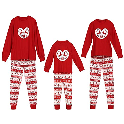c17c0037 Amazon.com: Atezch Matching Family Christmas Deer Print Pajamas Sleepwear  Nightwear - Personalized, Red: Clothing