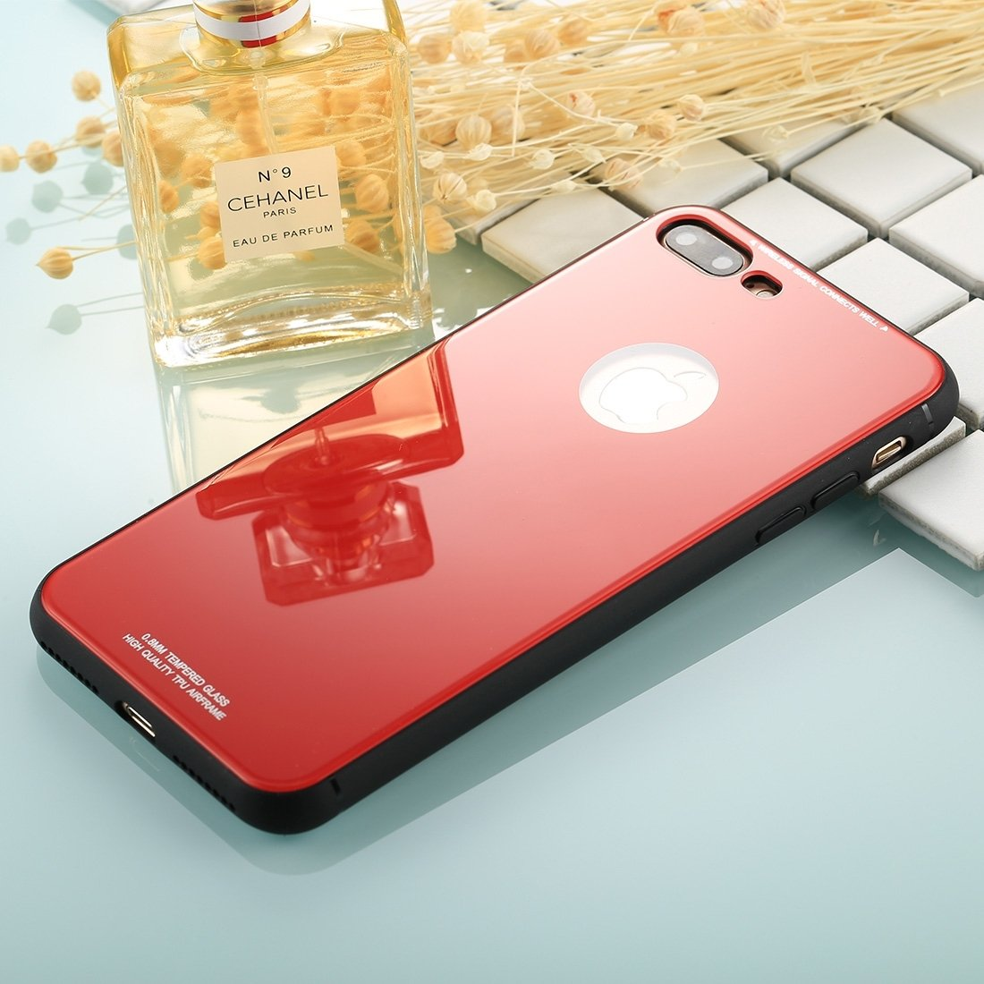 TONGZHENGTAI Designed for iPhone 8 Plus / 7 Plus Case, 0.8mm Tempered Glass TPU Airframe Shockproof Protector Cover Simple Style Back Shell (Color : Red) by TONGZHENGTAI