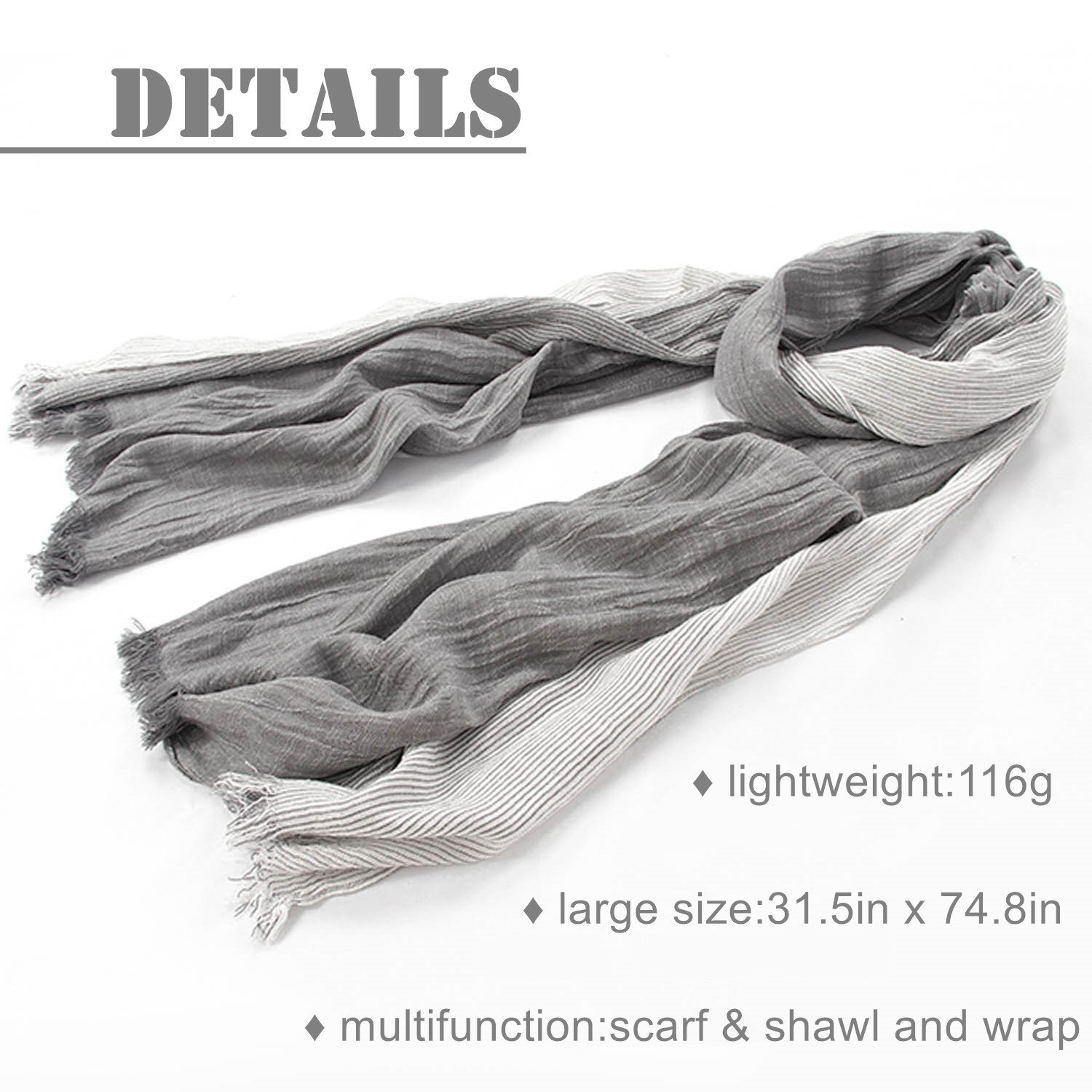 Kalevel Large Scarf Shawl Wrap Cotton Shawls and Wraps with Fringe - Dark Grey by Kalevel (Image #4)