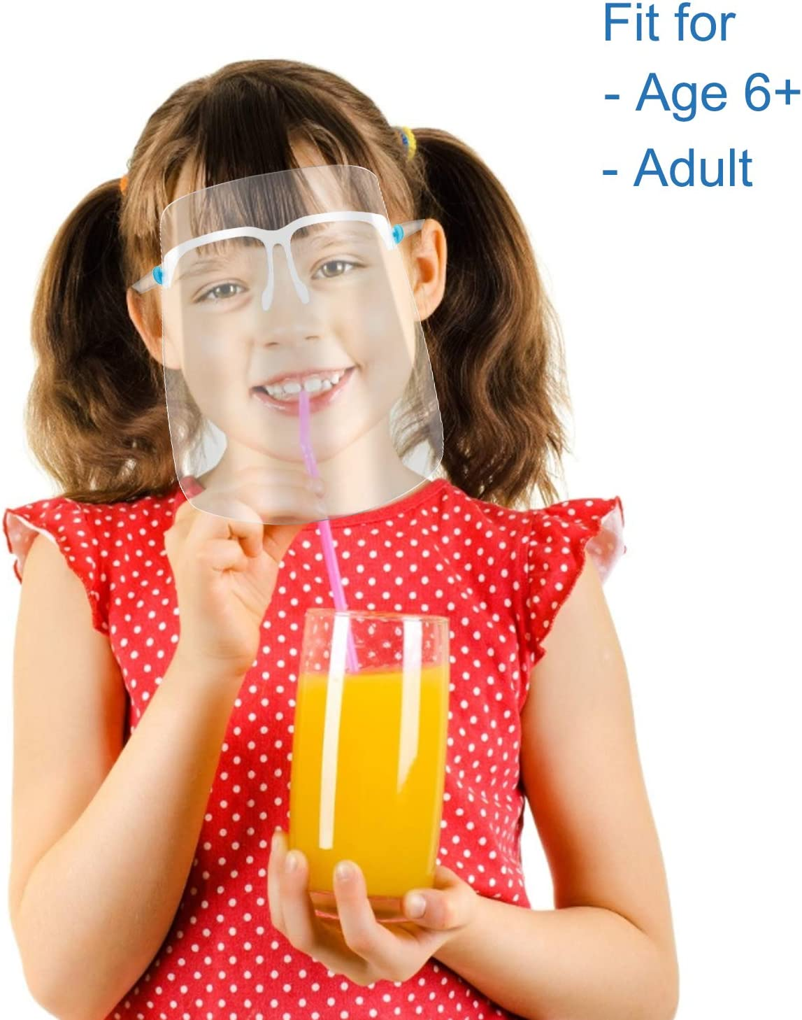 6 Brillengestelle +12 Visier ausgetauscht und wiederverwendet Werden HONYAO Transparente Gesichtsschutz Visier f/ür Frauen und M/änner k/önnen gereinigt