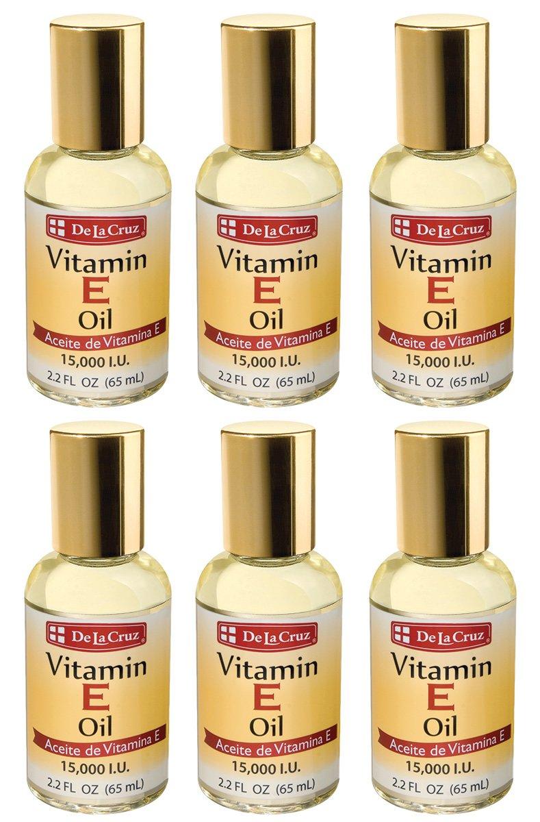 Amazon.com : De La Cruz Vitamin E Oil 15, 000 IU, No Preservatives, Artificial Colors or Fragrances, Made in USA 2.2 FL. OZ. (6 Bottles) : Beauty