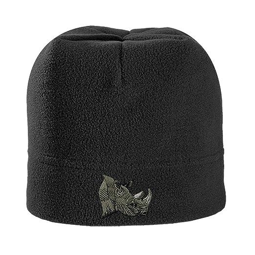 Rhino Head Embroidered Unisex Adult Polyester Spandex Stretch Fleece Beanie  Winter Hat - Black 22da17b17f4