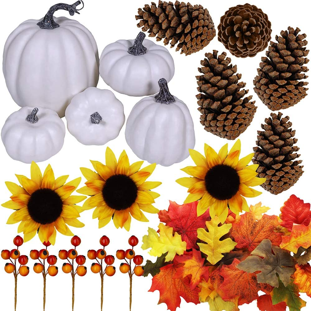 Winlyn Artificial White Pumpkins Set, Pine Cones, Fall Leaves, Sunflower Heads and Berries Fall Decorating Kit Thanksgiving Halloween Party Decor
