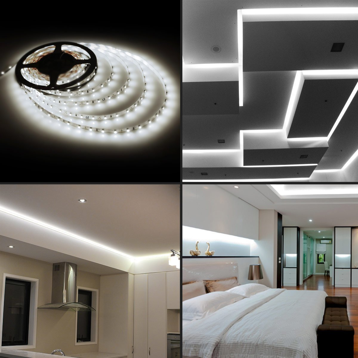Do you already have led lighting inside the house part 1 come - Amazon Com Le 16 4ft 12v Flexible Led Light Strip Led Tape 6000k Daylight White 300 Units Smd 2835 Leds Non Waterproof Led Ribbon Led Light Strips