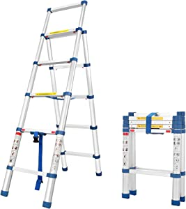 Sotech Retractable Step Ladder, 5 Steps Aluminum Telescoping Ladders for Household and Professional, EN132 Certified, Soft Close and Anti-Pinch, Foldable and Light Weight, Max Load: 150kgs