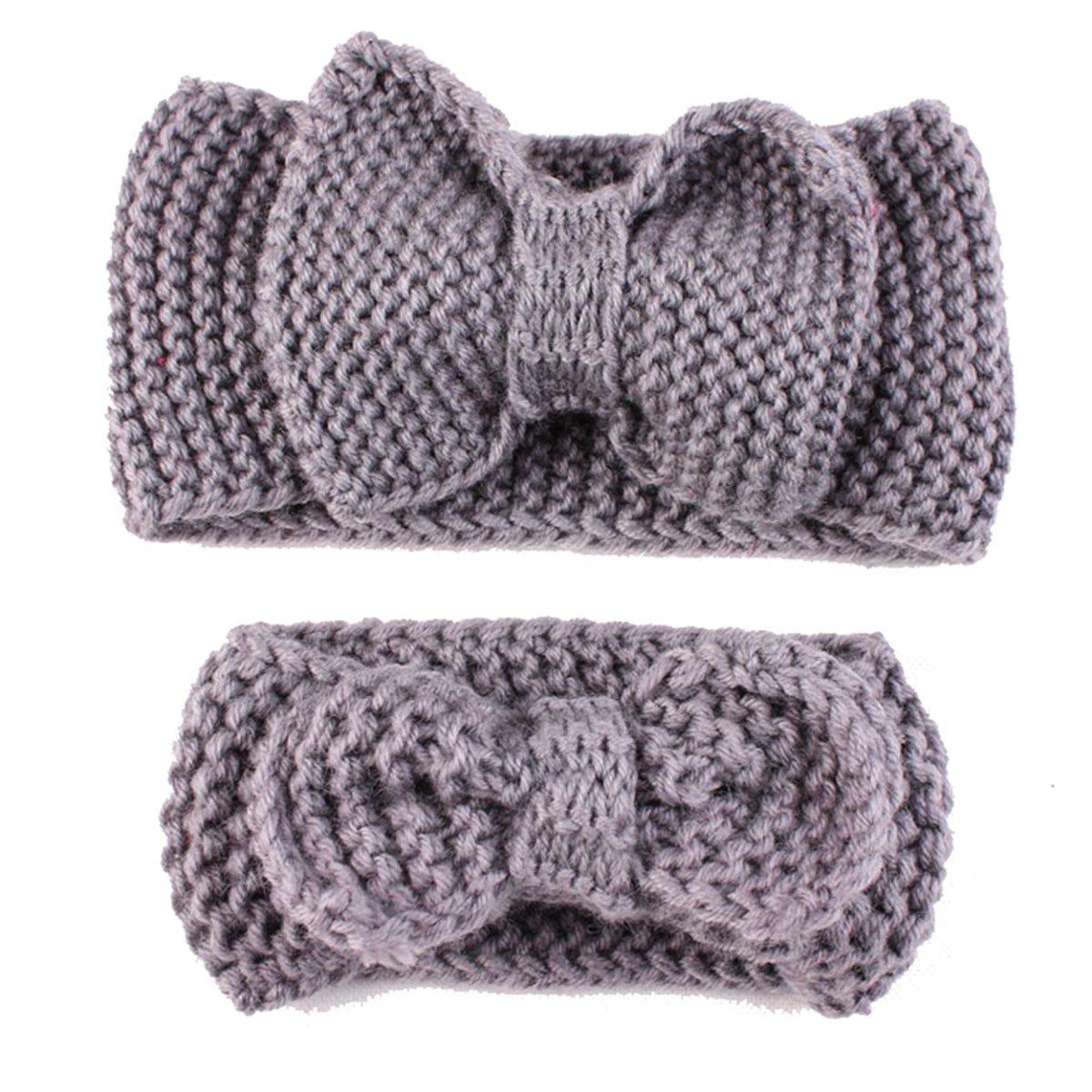 Mère et bébé tricoter bandeau, tukis portes hiver chaud laine Serre-tête enfant geknotete Bandeau bleu Tukistore XD5000024L