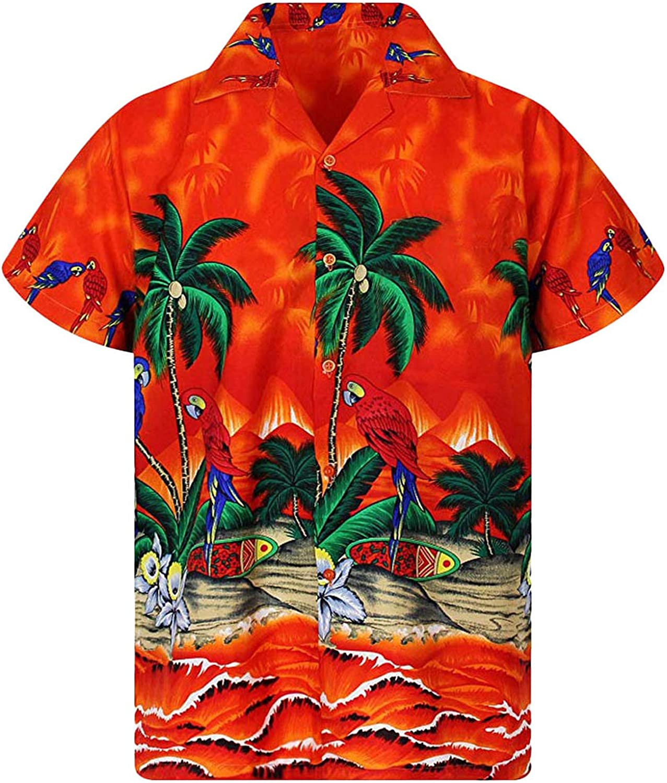 New Male Hawaiian Shirts Fashion Mens Casual Button Hawaii Print Beach Short Sleeve Quick Dry Top Blouse M-3XL,Red,XL,United States