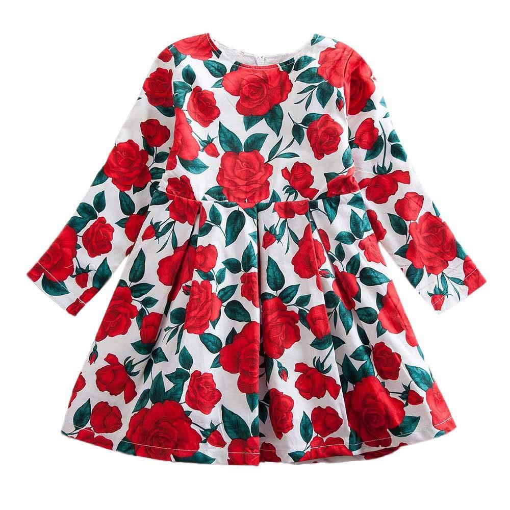 KONFA Teen Toddler Baby Girls Roses Print Dress,Suitable for 1-7 Years,Little Princess Long Sleeve Floral Skirt Clothing Set