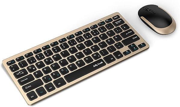 Jelly Comb Conjunto de ratón y teclado inalámbrico 2,4 G, teclado inalámbrico ultrafino y ratón QWERTZ, disposición alemana para MacBook, PC, ...
