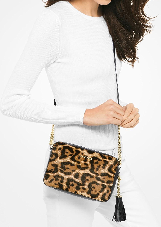 5ffa3b8b5a6f MICHAEL Michael Kors Ginny Leopard Calf Hair Crossbody - Butterscotch   Handbags  Amazon.com