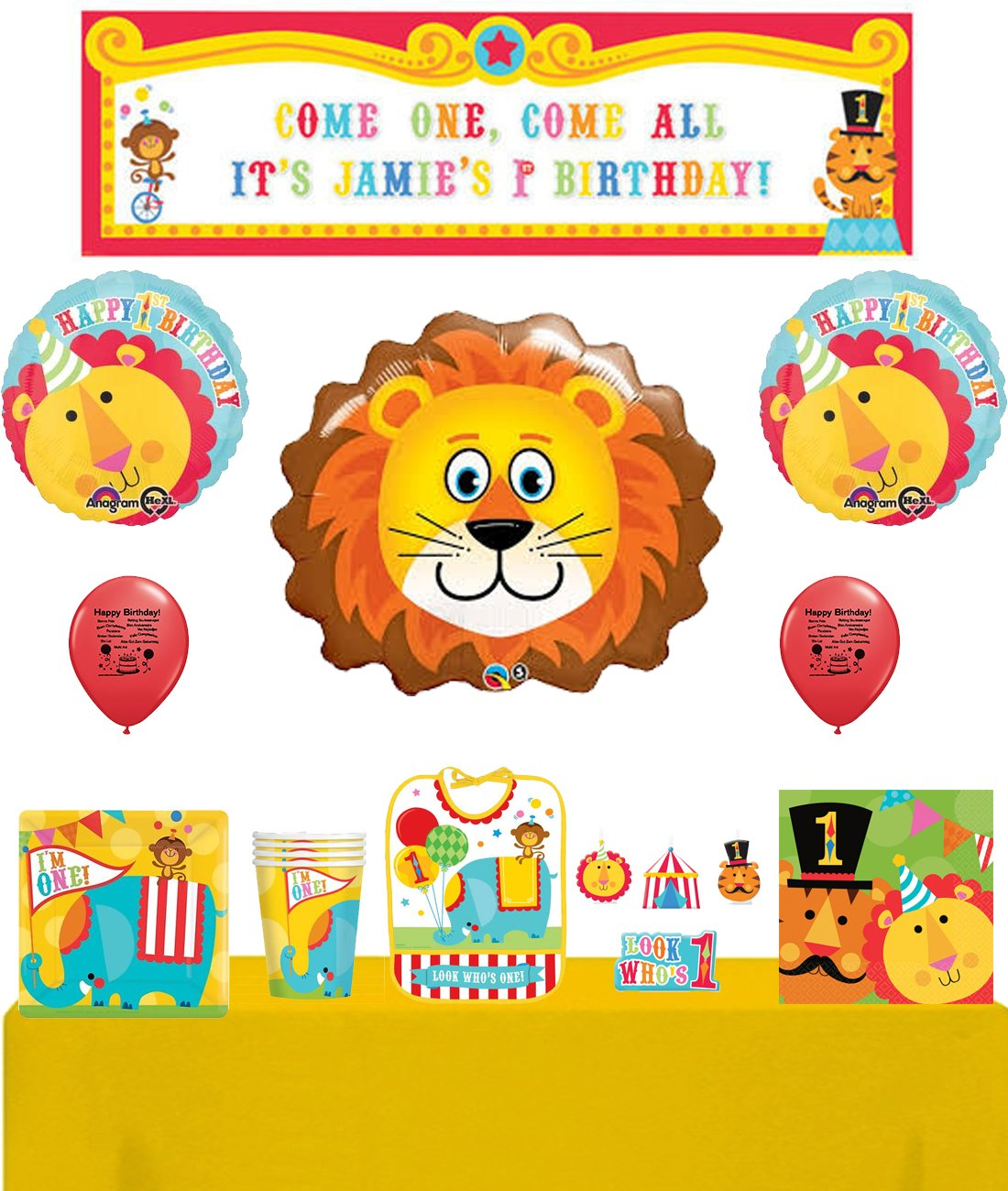 Circus 1st Birthday Animals & Tent Carnival Party Supply and Room Decorating Kit