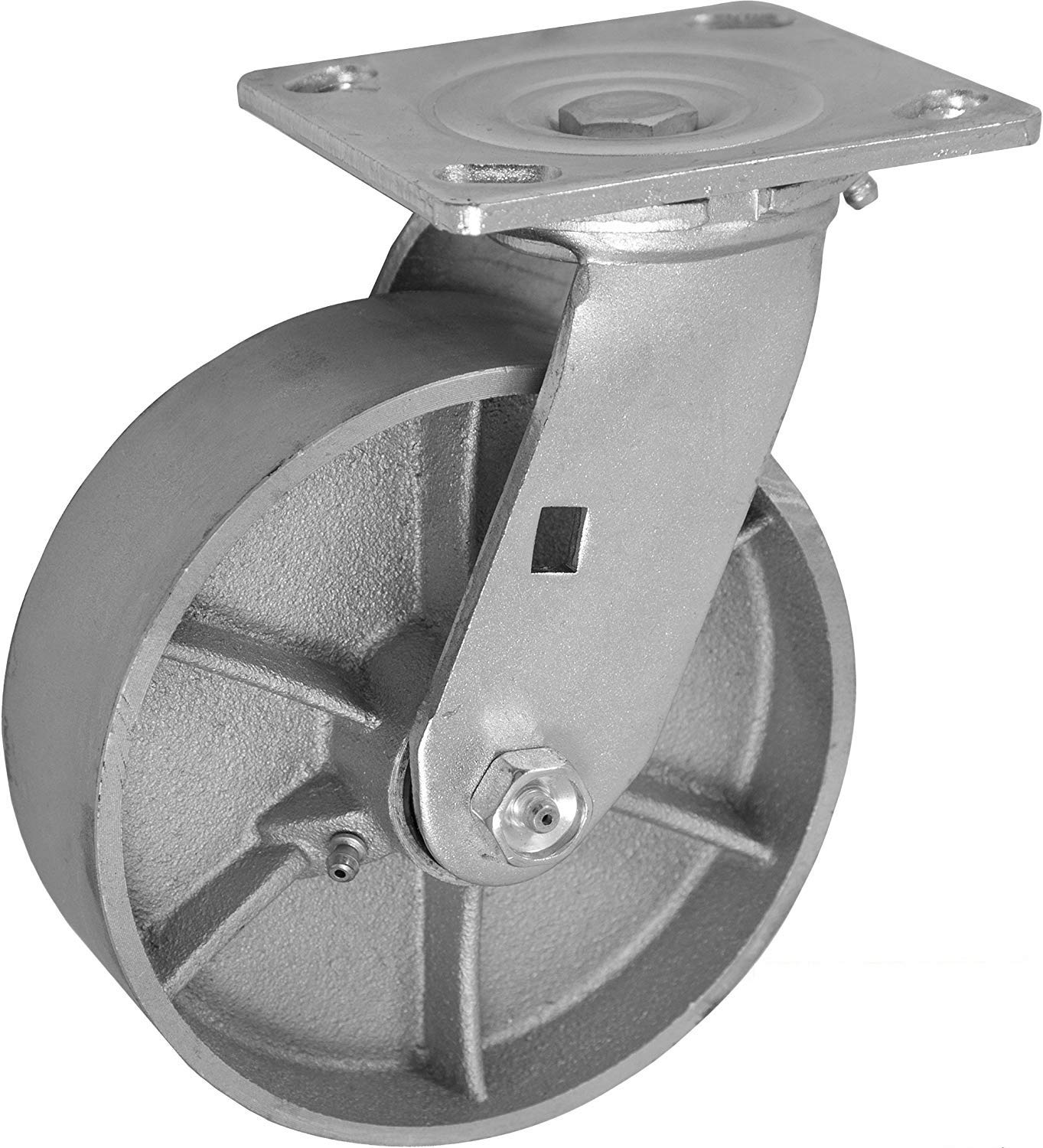 CasterHQ 6'' X 2'' INCH Swivel Caster - SEMI-Steel CAST Iron Wheel - 1200 LBS Capacity - 6 inch x 2 inch - Heavy Duty Industrial/Commercial 7-1/2'' Overall Height