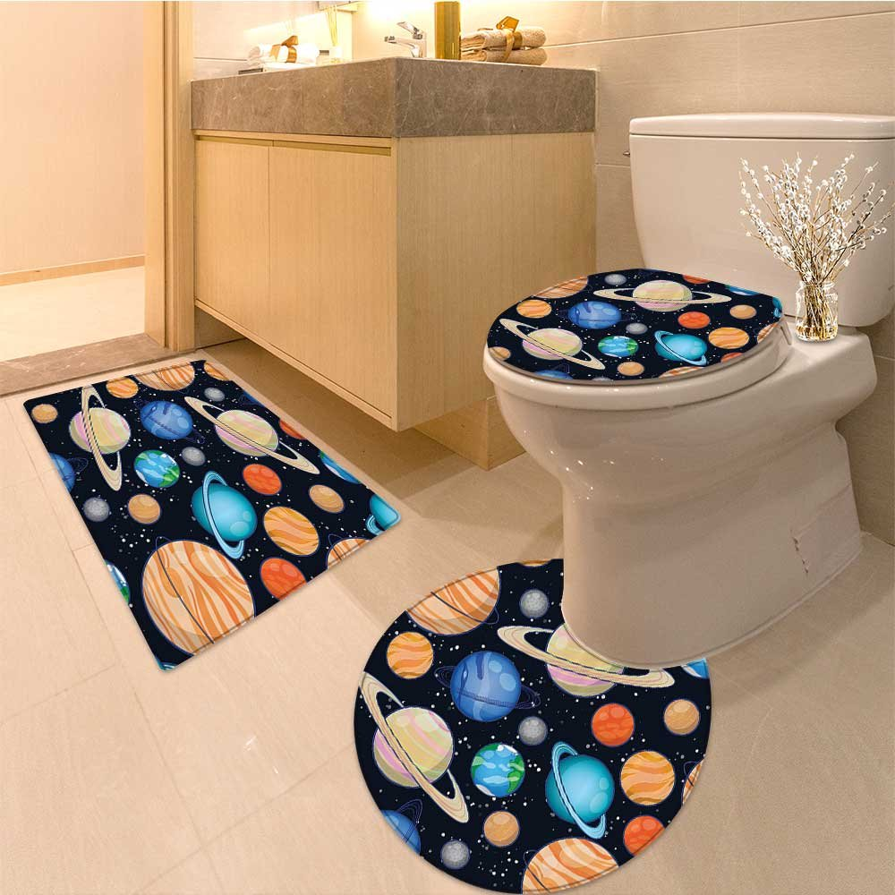 3 Piece Extended bath mat setCute Art Solar System with Planets Mars Mercury Uranus Jupiter Venus Kids Print Fabri Non Slip Bathroom Rugs
