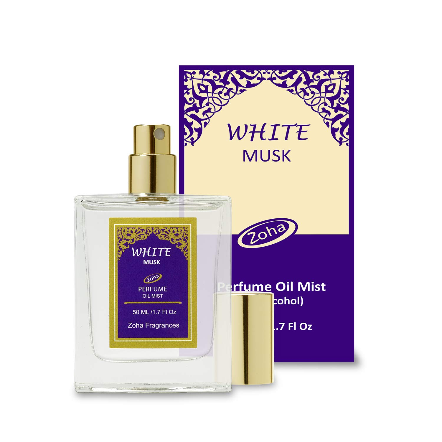 White Musk Perfume Oil Mist (No Alcohol) White Musk Fragrance Oil - Essential Oils and Perfumes for Women and Men by Zoha Fragrances, 50 ml / 1.7 fl Oz by Zoha
