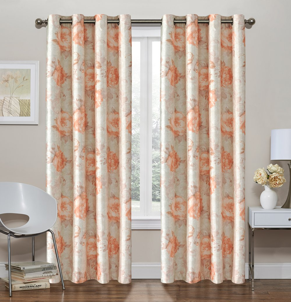 FQ Makayla Single Thermal Blackout Printed Floral Window Curtain Panel Peach