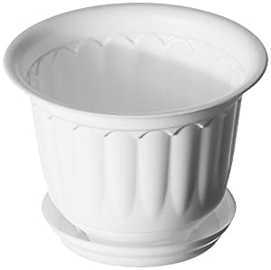 Malhotra Plastic Jasmine Pot with Bottom Tray Set (10-inch, White, 3-Pieces)