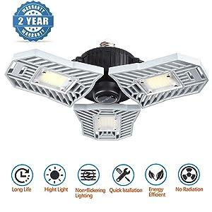 Led Garage Lighting, Deformable Garage Light 6000LM, 60W Shop Lights for Garage, Ultra-Bright Mining Lamps with 3 Adjustable Panels, Garage Ceiling Light for Workshop/Warehouse (60W Ordinary)