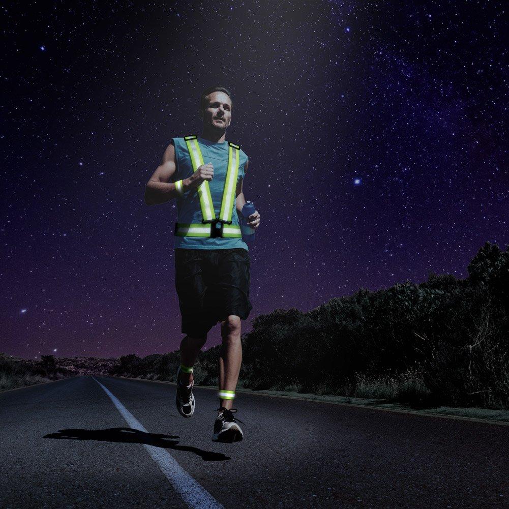 R/éfl/échissant Gilet de s/écurit/é Marcher Mototourisme ou course /à pied v/élo visibilit/é l/éger et haut r/églable pour jogging en plein air