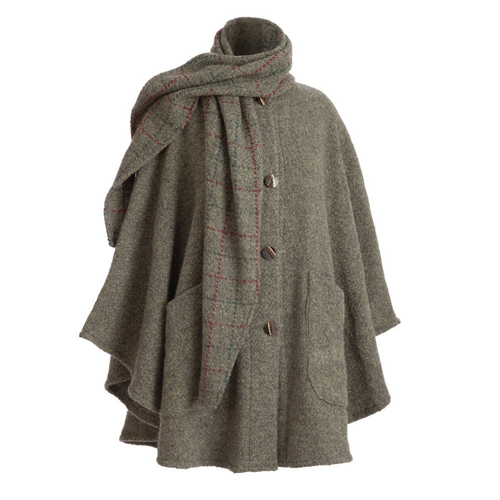Women's Clare Cape - Wool Alpaca Button Down Jacket with Scarf- Heather