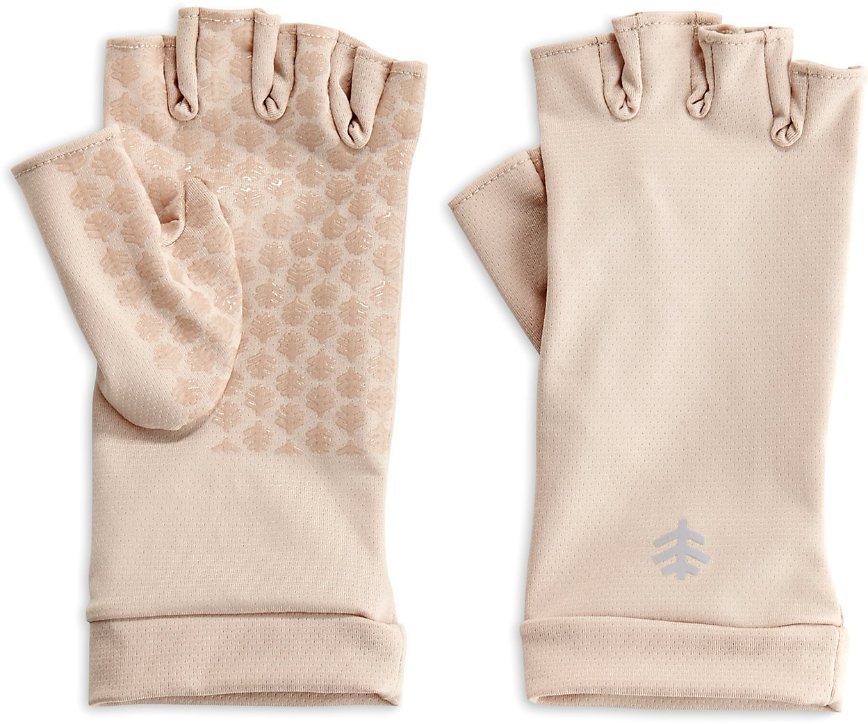 Coolibar UPF 50+ Unisex Fingerless Sun Gloves - Sun Protective (Small- Beige)