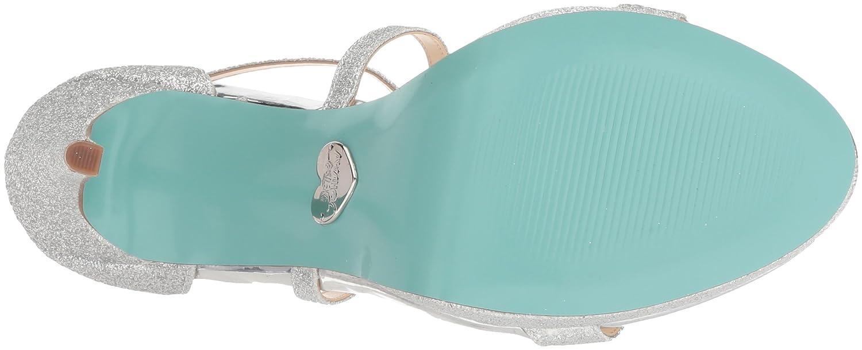 Blue by Betsey Johnson Womens SB-ANDI Heeled Sandal Silver Glitter 10 M US