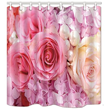 NYMB Romantic Gift Flower And Pearl Shower Curtain In Bath 69X70 Inches Mildew Resistant Polyester Fabric