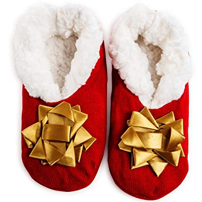 Christmas Holiday Plush Ballerina Slipper Socks Slippers Womens (gold bow, s/m) at Amazon Women's Clothing store