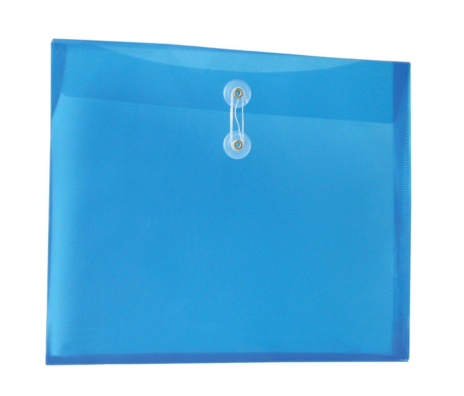 School Smart Side Loading Polypropylene String Envelopes - Pack of 12 - Clear