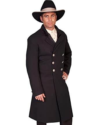 4569d69e598 Scully Wahmaker Men's Old West Double-Breasted Frock Coat - 511029 Black at  Amazon Men's Clothing store: