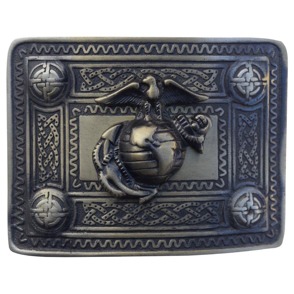 AAR Scoittsh Kilt Belt Buckle with U S Marine Badge Antique Finish Highland Kilt Belt Buckles AAR Products KBBA-121