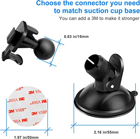 Peztio YI Nightscape Etc Dash Cam Suction Cup Mount Holder Fit for AUKEY with 16 Different Points Crosstour APEMAN YI 2.7 Byakov 3 x Glue Double Sided Adhesive Tapes 3 x Wipes Dry and Wet