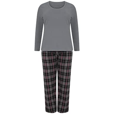 1bb57a4e02 Ladies Super Soft Fleece Pyjama Set Plain Womens PJ s Winter Warm Check  Nightwear (12