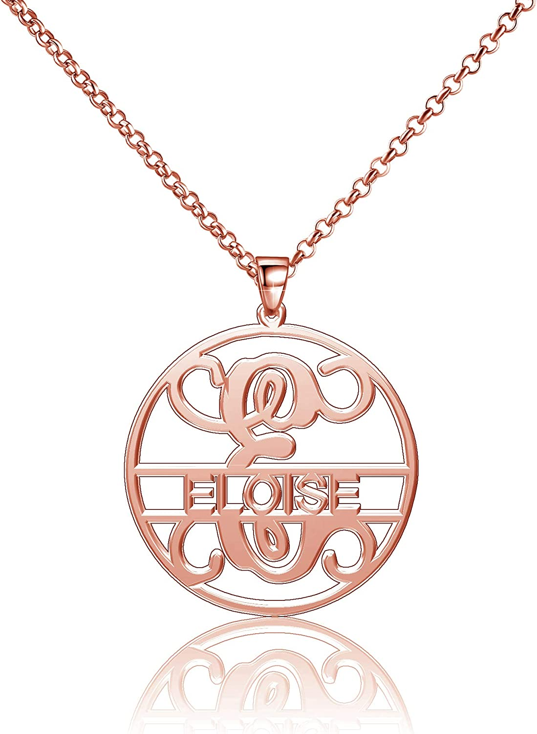 Moonlight Collections Eloise Necklace Monogrammed Necklace Silver 925 Sterling Silver