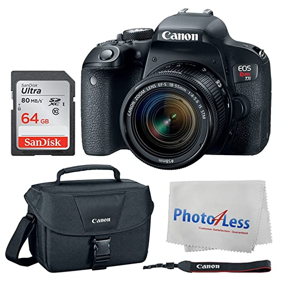 Canon Eos Rebel T7i Digital Slr Camera + Canon Ef S 18 55mm F/4 5.6 Is Stm Lens + Canon Eos Shoulder Bag 100 Es (Black) + San Disk Ultra Sdxc 64 Gb 80 Mb/S Class 10 Flash Memory Card + Deluxe Canon Bundle by Canon