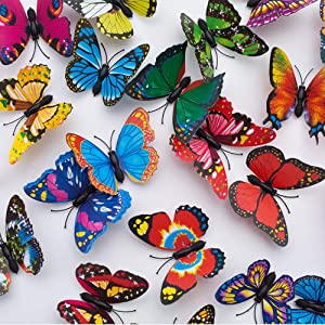 Onwon Garden Butterfly Stakes Decor - 30Pcs 7cm Butterfly Garden Ornaments, Indoor & Outdoor Yard Patio Planter Flower Bed Pot Spring Garden, on Metal Stake Stems - Multicolor