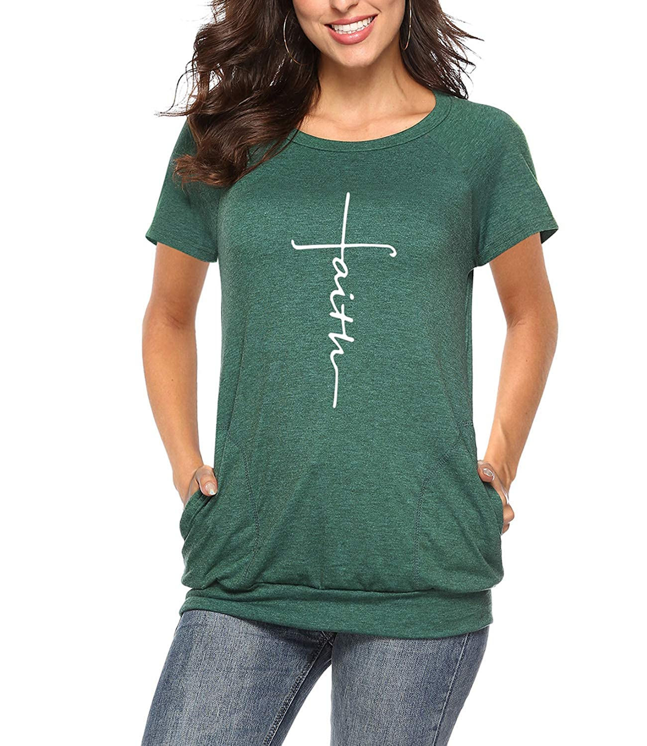 Mansy Womens Casual Faith Tshirts Letter Printed Graphic Tees Tops Summer Pockets