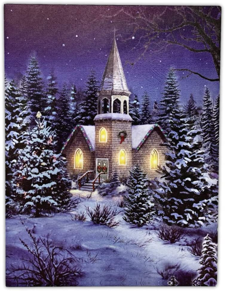 BANBERRY DESIGNS Christmas Wall Art - Church at Night Picture with LED Lights - Winter Scene Canvas Print