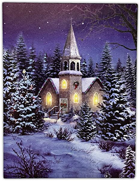 Amazon Com Banberry Designs Christmas Wall Art Church At Night Picture With Led Lights Winter Scene Canvas Print Posters Prints